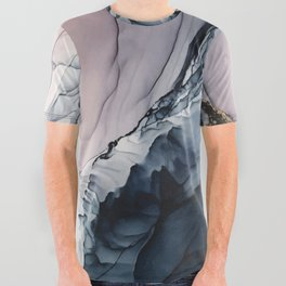 Blush, Navy and Gray Abstract Calm Clouds All Over Graphic Tee
