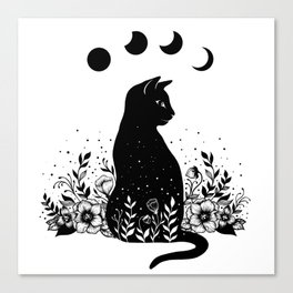Night Garden Cat Canvas Print