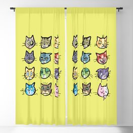 cat faces Blackout Curtain