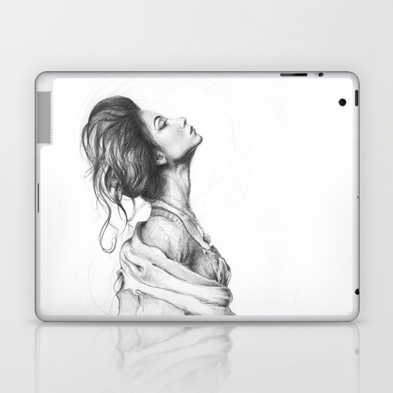 Pretty Lady Illustration Woman Portrait Beauty Laptop & iPad Skin