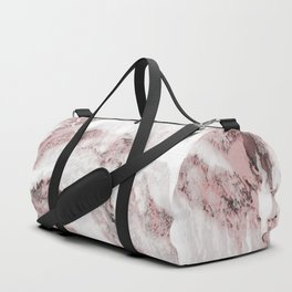 White and Pink Marble Mountain 01 Duffle Bag