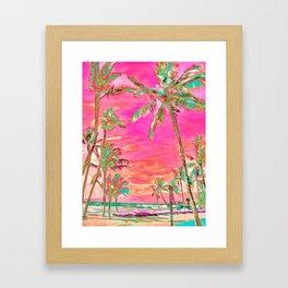 Retro Hawaiian Beach, Mauna Lani Pink Framed Art Print
