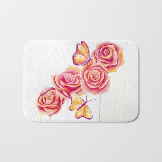 Butterflies and Roses Bath Mat