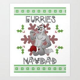 Furries Navidad Art Print