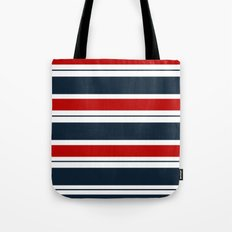 Red, White, and Blue Horizontal Striped Tote Bag