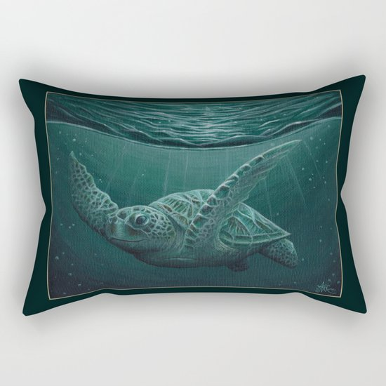 """Eclipse"" by Amber Marine - Sea Turtle, Acrylic Painting, (c) 2015 Rectangular Pillow"