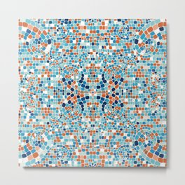 Aqua and Terra Cotta Mosaic Metal Print