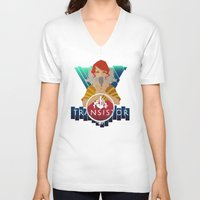 transistor V-neck T-shirts featuring TRANSISTOR by Duke