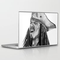 jack sparrow Laptop & iPad Skins featuring Jack Sparrow - I Wash My Hands Of This Weirdness by Art by Cathrine Gressum