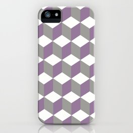 Diamond Repeating Pattern In Crocus Purple and Grey iPhone Case