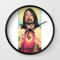 dave grohl Wall Clocks featuring Dave Grohl by Michelle Wenz