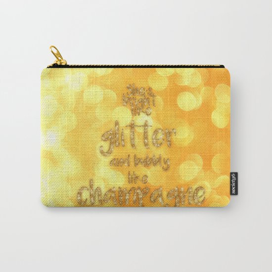 She is bright- Gold  glitter Typography - Carry-All Pouch
