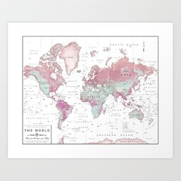 World Map Wall Art [Pink Hues] Art Print