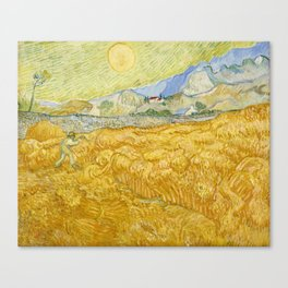"Vincent van Gogh ""Wheat Field behind Saint Paul Hospital with a Reaper"" Canvas Print"