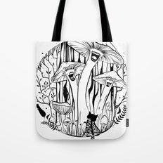 The Singing Mushrooms & The Zebra Cat Tote Bag