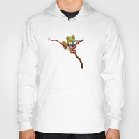philippines Hoodies featuring Tree Frog Playing Acoustic Guitar with Flag of Philippines by Jeff Bartels