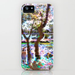 Trees Pond and Light Streams iPhone Case