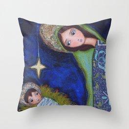 Nativity Star by Flor Larios Throw Pillow