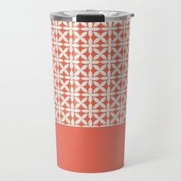 Pantone Cannoli Cream Square Petal Pattern on Pantone Living Coral Travel Mug