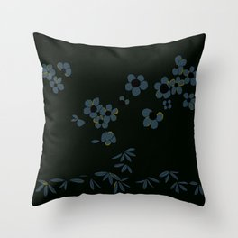 Japanese Oleanders Midnight Throw Pillow