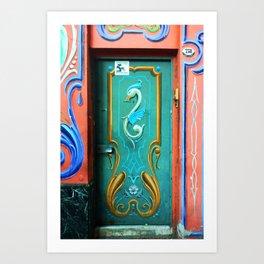 Traditional painting 'Fileteado porteño' on door and walls Art Print