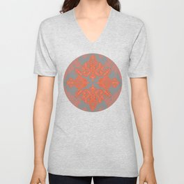 Burnt Orange, Coral & Grey doodle pattern Unisex V-Neck