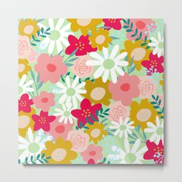 Floral Prints, Yellow, Pink and Green, Cute, Colourful Prints Metal Print
