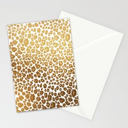 Leopard pattern, faux metallic gold Stationery Cards