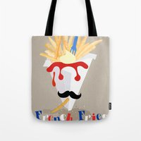 french fries Tote Bags featuring French Fries by Elisandra