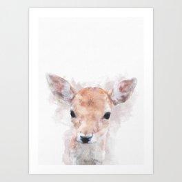 Watercolour deer fawn baby animal nursery kids room pastel pink Art Print
