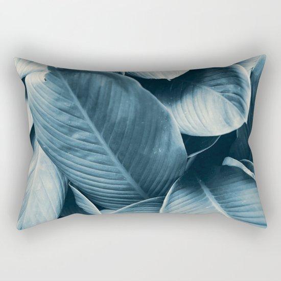 Blue Tropical Leaves Rectangular Pillow