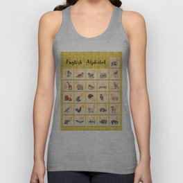 hand drawn animals poster for all English letters Unisex Tank Top
