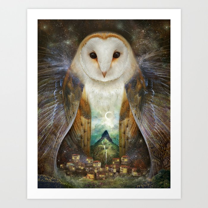 Owl, Mountain, Moon Art Print