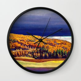 Golden Autumn landscape painting by Rockwell Kent Wall Clock