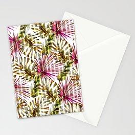 Tropical pink purple sunshine yellow palm tree stripes Stationery Cards