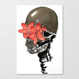Skull with Flower Eyes Light Canvas Print