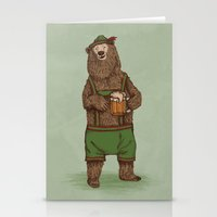 german Stationery Cards featuring Traditional German Bear by WanderingBert / David Creighton-Pester