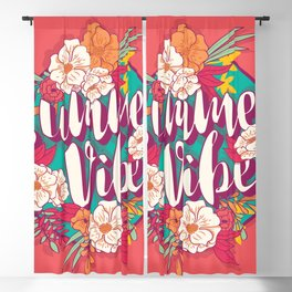 Summer vibes typography banner round design in tropical flower frame 002 Blackout Curtain