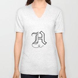 H - Letter Collection White Unisex V-Neck