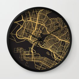 OAKLAND CALIFORNIA GOLD ON BLACK CITY MAP Wall Clock