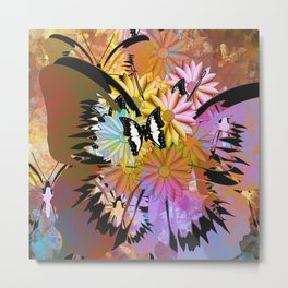 Abstract whimsical black white butterfly orange pink floral Metal Print