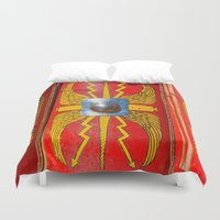 military Duvet Covers featuring Roman Military Shield - Scutum by digital2real