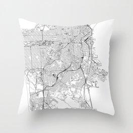 San Francisco White Map Throw Pillow