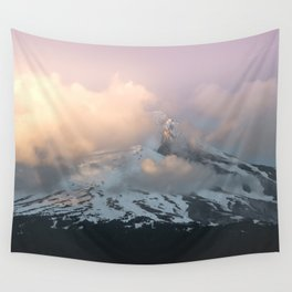 Pink Fog Mountain Morning Wall Tapestry