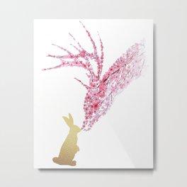 Deer and Bunny Watercolor Metal Print
