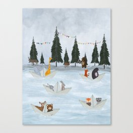 the great paper boat race Canvas Print