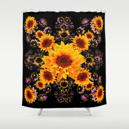 BLACK GOLDEN YELLOW SUNFLOWERS  VIGNETTE Shower Curtain