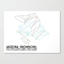 Arizona Snowbowl, AZ - Minimalist Winter Trail Art Canvas Print