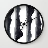 navy Wall Clocks featuring Navy by Ren Davis