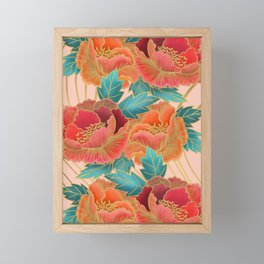 Pink Peonies Pattern with Gold Waves Framed Mini Art Print